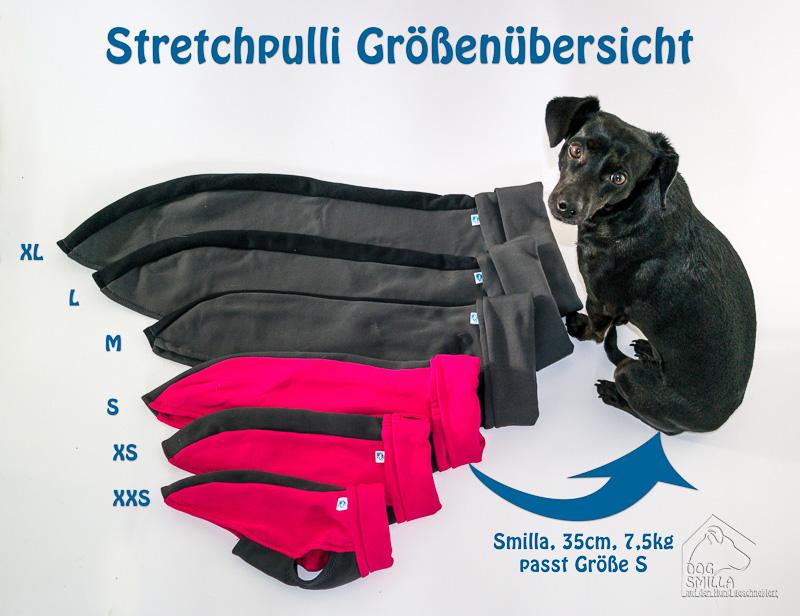 Stretchpulli Größenvergleich